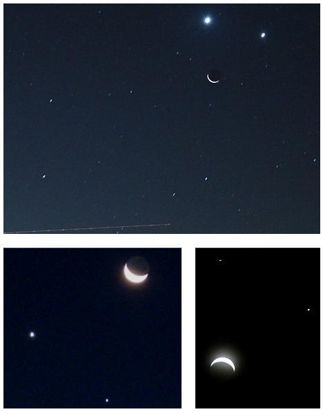 Rosto no Céu: conjunção lua, venus e júpiter